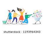sale. discounts. people are... | Shutterstock .eps vector #1193964343