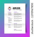 resume cv template for women in ... | Shutterstock .eps vector #1193967850