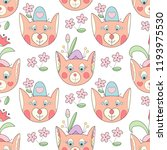 cute fox with flowers seamless... | Shutterstock .eps vector #1193975530