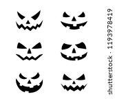 halloween pumpkin faces icons... | Shutterstock .eps vector #1193978419