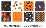 set of halloween seamless... | Shutterstock .eps vector #1193980639