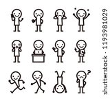 set of poses black and white... | Shutterstock .eps vector #1193981029