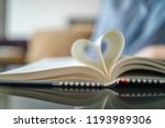 girl flips a page while reading ... | Shutterstock . vector #1193989306
