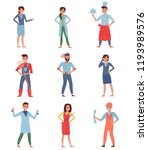 flat vector set of people... | Shutterstock .eps vector #1193989576