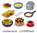 vector set of isometric food... | Shutterstock .eps vector #1193989660