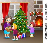 happy family decorating a... | Shutterstock .eps vector #1194015106