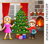 happy family decorating a... | Shutterstock .eps vector #1194015109