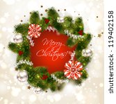 christmas wreath with fir and... | Shutterstock .eps vector #119402158