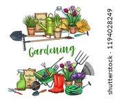 gardening banner. garden tools  ... | Shutterstock .eps vector #1194028249
