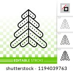 christmas tree thin line icon.... | Shutterstock .eps vector #1194039763