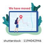 we have moved. woman and label... | Shutterstock .eps vector #1194042946