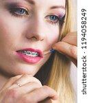 visage concept. close up woman...   Shutterstock . vector #1194058249