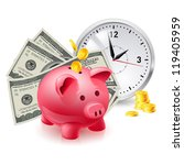 time is money. pig moneybox and ... | Shutterstock .eps vector #119405959