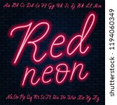 red neon script. uppercase and... | Shutterstock .eps vector #1194060349