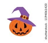 jack o lantern. cute pumpkin in ... | Shutterstock . vector #1194061420