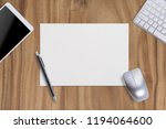 mouse one blank paper with... | Shutterstock . vector #1194064600