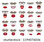 comic emotions. woman with... | Shutterstock .eps vector #1194076036