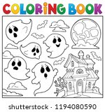 coloring book ghost theme 6  ... | Shutterstock .eps vector #1194080590