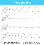 trace line worksheet for... | Shutterstock .eps vector #1194087739