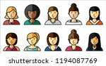 set of women icons with... | Shutterstock .eps vector #1194087769