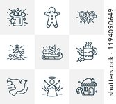 happy icons line style set with ... | Shutterstock .eps vector #1194090649