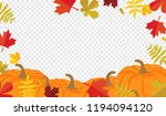 autumn leaves and pumpkins... | Shutterstock .eps vector #1194094120