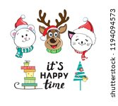 merry christmas head animals... | Shutterstock .eps vector #1194094573