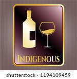 gold shiny badge with bottle...   Shutterstock .eps vector #1194109459