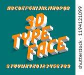 3d alphabet font. simple three... | Shutterstock .eps vector #1194121099