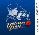 veterans day. dark blue vector... | Shutterstock .eps vector #1194126520