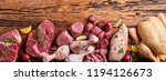 Assortment Of Raw Meat On...