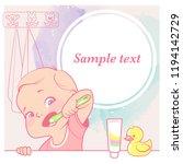 cute little baby girl brush her ... | Shutterstock .eps vector #1194142729