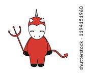 Cute Cartoon Devil Unicorn...