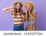 two pretty cheerful young girls ... | Shutterstock . vector #1194157726