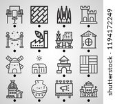 simple set of  16 outline icons ... | Shutterstock .eps vector #1194172249