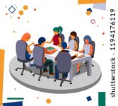 meeting staff in the office in... | Shutterstock .eps vector #1194176119