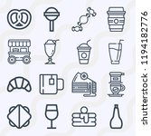 simple set of  16 outline icons ... | Shutterstock .eps vector #1194182776