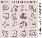 simple set of  16 outline icons ... | Shutterstock .eps vector #1194186313
