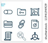 simple set of  9 outline icons... | Shutterstock .eps vector #1194194929