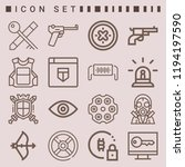 simple set of  16 outline icons ... | Shutterstock .eps vector #1194197590