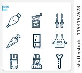 simple set of  9 outline icons... | Shutterstock .eps vector #1194197623