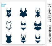 simple set of  9 filled icons...   Shutterstock . vector #1194199429