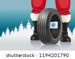 santa offers automobile tires... | Shutterstock .eps vector #1194201790
