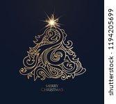 vector hand drawn christmas tree | Shutterstock .eps vector #1194205699