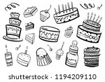 set of stylized cakes  tarts... | Shutterstock .eps vector #1194209110