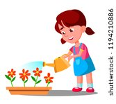 little girl watering flowers... | Shutterstock .eps vector #1194210886
