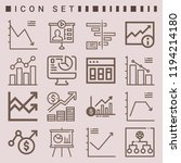 simple set of  16 outline icons ... | Shutterstock .eps vector #1194214180
