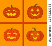 halloween jack o lanterns with... | Shutterstock .eps vector #1194223393