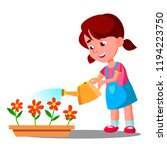 little girl watering flowers.... | Shutterstock . vector #1194223750