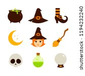 halloween   flat icon set  ... | Shutterstock .eps vector #1194232240